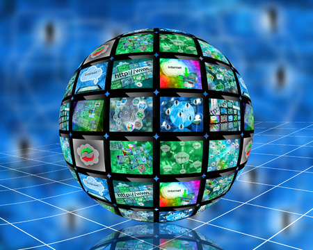 international monitoring: Many abstract images on the theme of computers, Internet and high technology.