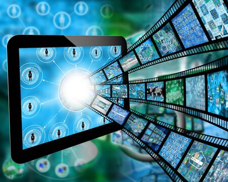 web portal: Many abstract images on the theme of computers, Internet and high technology.
