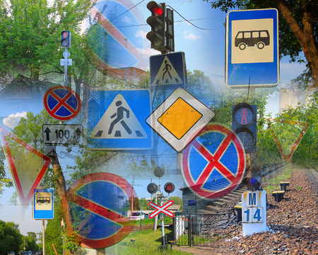 carriageway: Photo on which depicts a road sign.