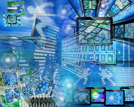 Beaucoup d'images abstraites sur le thème de l'informatique, Internet et de haute technologie.