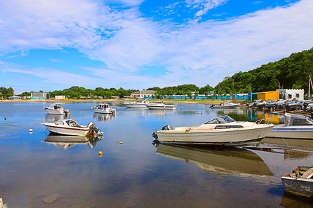 Photo which shows boats and small boats. Stock Photo