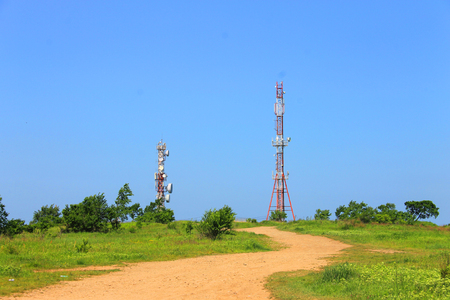 transmit: A photo depicting a high cell tower. Stock Photo