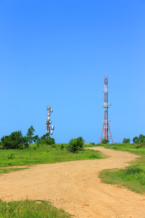 A photo depicting a high cell tower. Stock Photo