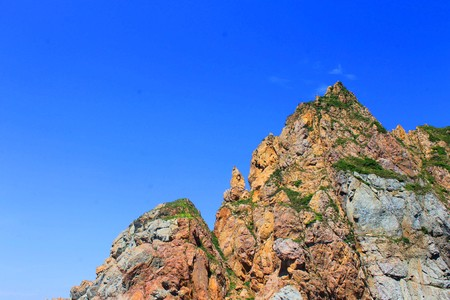 The photo depicts a small rock with vegetation. Standard-Bild