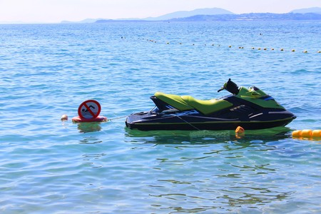 A photo depicting a hydrocycle on the sea.