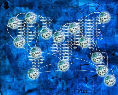 Muchas de las imágenes abstractas sobre el tema de las computadoras, Internet y alta tecnología. Foto de archivo - 87549214