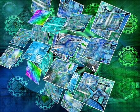 Muchas de las imágenes abstractas sobre el tema de las computadoras, Internet y alta tecnología. Foto de archivo - 87549215