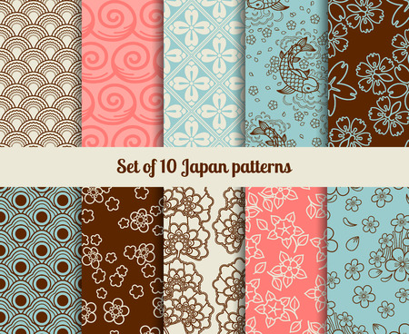Japanese seamless patterns. Endless textures for backgrounds and wrapping papers Çizim