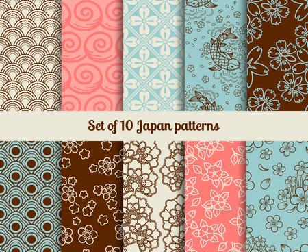 Les modèles sans couture japonais. Textures infinies pour les milieux et les papiers d'emballage Vecteurs
