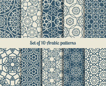 delicate arabic motif: Set of arabic patterns. Wallpaper backgrounds with abstract texture