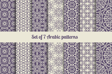 Arabic or muslim patterns set for backgrounds and textures Çizim