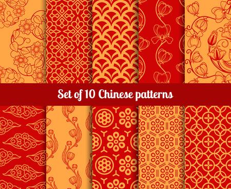 Modelli senza soluzione cinesi. Texture infinite per sfondi Vettoriali