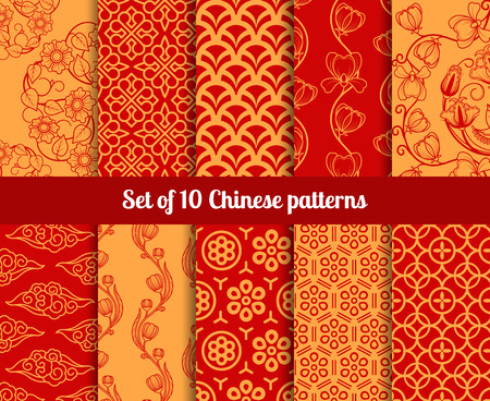 Chinese seamless patterns. Endless textures for wallpapers Vectores