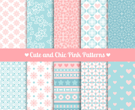 heart pattern: Cute and Chic Pink and blue Patterns. Endless texture for paper or scrap booking