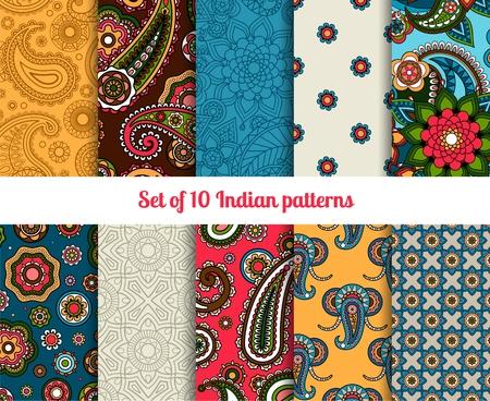 disegno cachemire: Set modello indiano, brillanti ornamenti floreali per gli sfondi Vettoriali