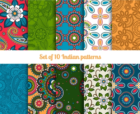 Paisley and flower raditional asian or indian seamless patterns Vector