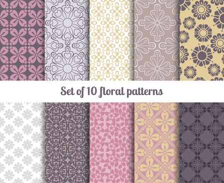 respectable: Pastel flowers backgrounds seamless floral patterns Illustration
