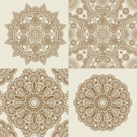 Round Ornament Patterns. Mandala and mandala pattern set Vector