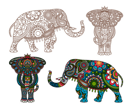 decorated Indian Elephant silhouette and colored Illustration