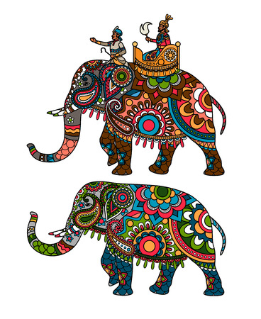 Indian decorated elephant with rider Maharaja.  Illustration