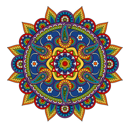 Round Paisley Pattern, circle element in Indian style Vectores