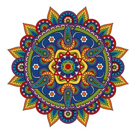 Round Paisleymuster, Kreis Element im indischen Stil Standard-Bild - 38680553