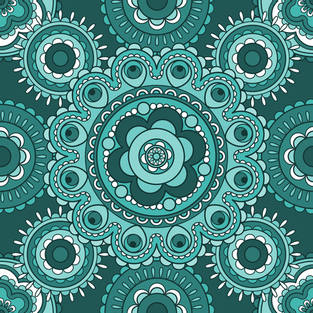 Seamless decorative pattern with round oriental blue ornament Vector