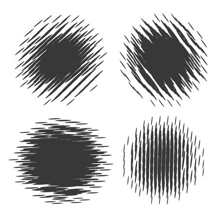 Grunge halftone radial textures drawing elements. Vector illustration Vector