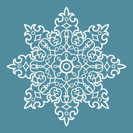 Round Ornament Arabesque Pattern Decorative Blue Element