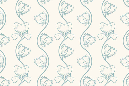 Seamless retro blue floral background illustration Vector