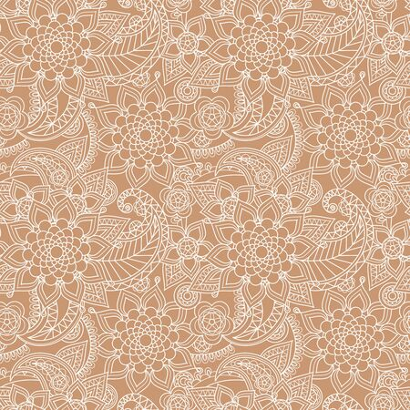 duotone: Seamless paisley background with hand drawn Asian pattern Illustration
