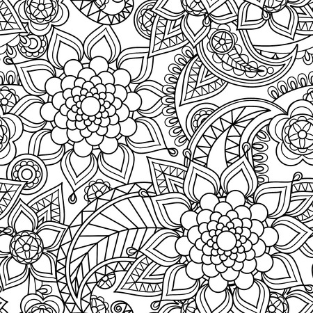 Seamless asian paisley pattern floreale disegnato a mano