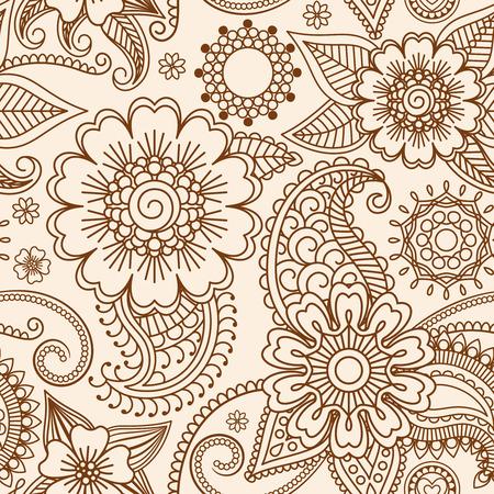 Henna mehndi tattoo doodle seamless pattern background Vector