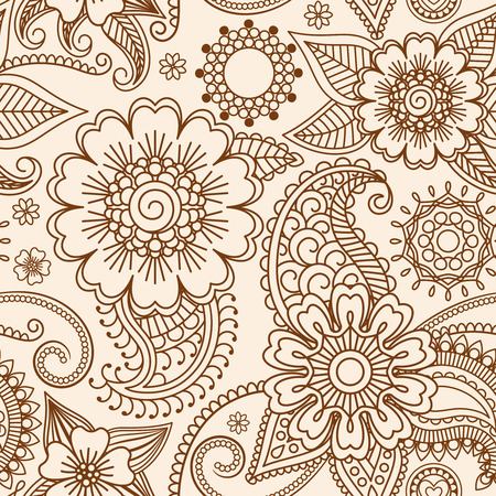 seamless vintage floral pattern: Henna mehndi tattoo doodle seamless pattern background