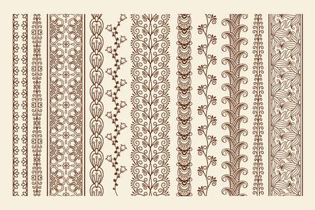 Hand drawn henna mehndi tattoo doodle borders