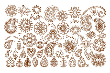 henna pattern: Henna tattoo doodle vector elements on white background