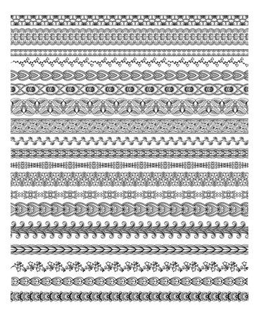 Henna Border Silhouettes Vector Illustration Set for banners and ethnic decoration Vector