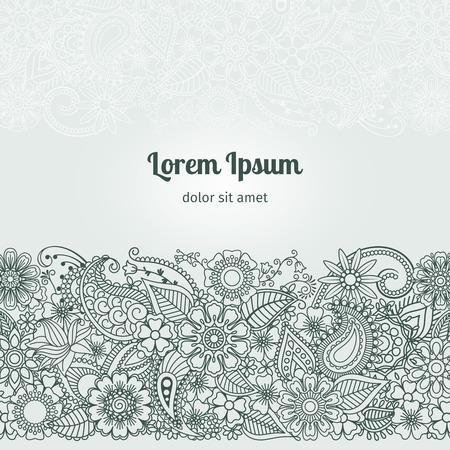 Henna Flowers Mehndi elemento di disegno vettoriale con il testo posto per gli inviti e cartoline Vettoriali