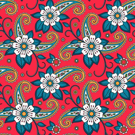 Seamless motif tribal indien fond rouge avec des fleurs orientales Banque d'images - 40832871