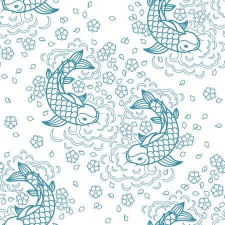 Koi chinese carp seamless pattern. Vector blue background with fish