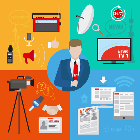 Live report or live news journalism vector concept Çizim