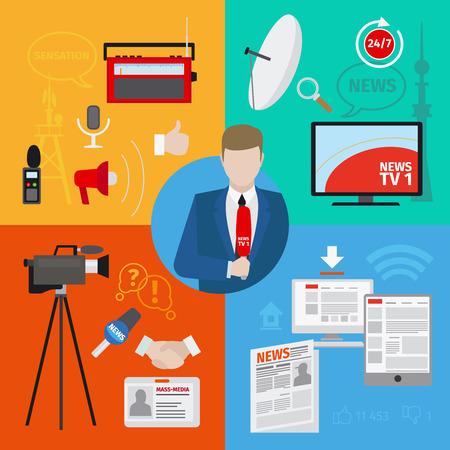 Live report or live news journalism vector concept Illustration