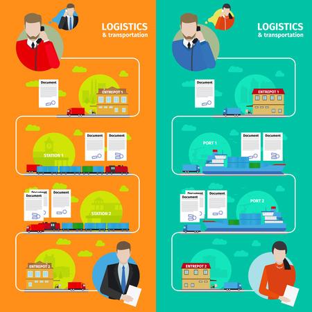 transporte: La logística del vector y pancartas de transporte en estilo plano