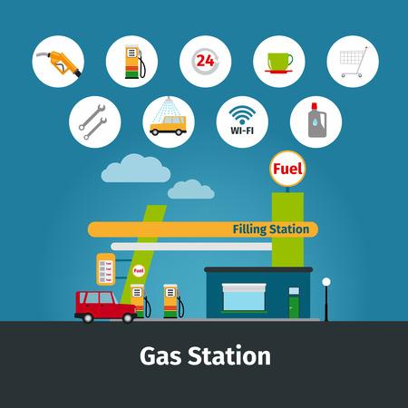 Gasolinera y bomba de combustible iconos planos ilustración vectorial