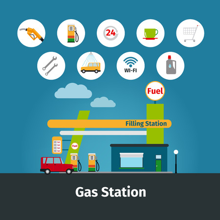 bomba de gasolina: Gasolinera y bomba de combustible iconos planos ilustración vectorial
