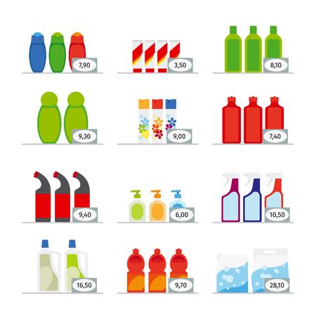 productos quimicos: Los químicos del hogar y artículos de limpieza botellas vector iconos planos Vectores