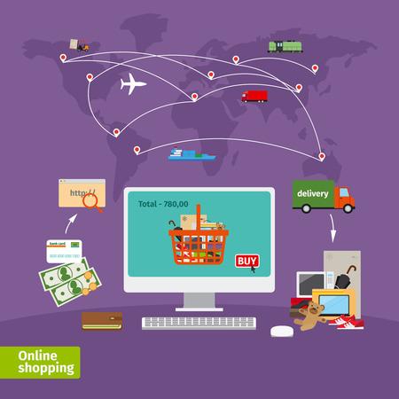 redes de mercadeo: Concepto de compras en línea. El comercio electrónico, el orden y la entrega