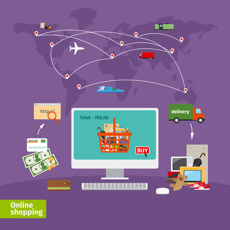 shipping package: Online shopping concept. E-commerce, order and delivery