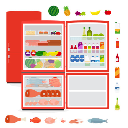 frozen meat: Red full opened refrigerator with food vector illustration