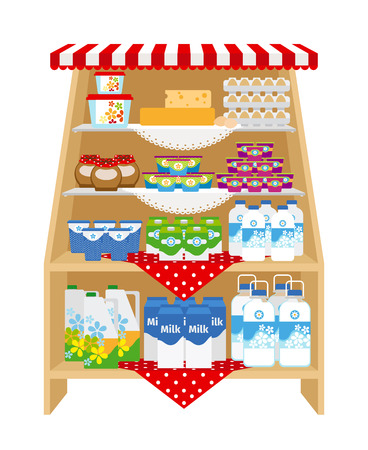 Dairy products on store shelves. Milk and yogurt, cheese and cream Vector